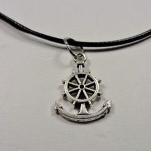 Jewelry - NAUTICAL SHIPS WHEEL ANCHOR BLACK LEATHER NECKLACE